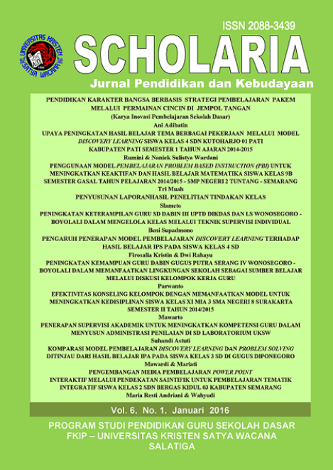 SCHOLARIA VOL 6, No. 1, Januari 2016