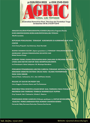 Agric Jurnal Ilmu Pertanian Vol 31 No 1 2019