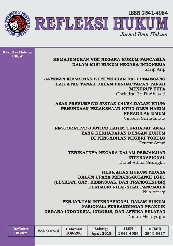 Refleksi Hukum: Jurnal Ilmu Hukum