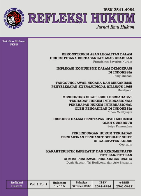 Refleksi Hukum Vol. 1 No. 1